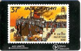 MAN-30 TARJETA DE LA ISLA DE MAN DE UN SELLO CON UN BARCO (STAMP-SHIP) - Isla De Man