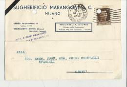 CARTOLINA POSTALE COMMERCIALE PUBBLICITARIA  CON FORI DA ARCHIVIO SUGHERO SUGHERIFICIO MARANGONI MILANO 1942 - Pisa