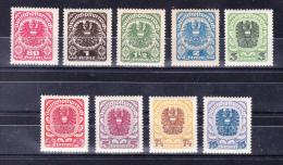 AUSTRIA  1920/1 ,  Coat Of Arms , Y&T  #  223/31 , Cv   6.00   E ,  ** M N H , V V F - 1918-1945 1a Repubblica