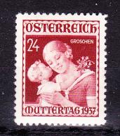 AUSTRIA  1937 ,  Mother´s Day  , Y&T  #  495, Cv   2.00   E ,  ** M N H , V V F - 1918-1945 1a Repubblica