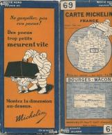 CARTE-ROUTIERE-MICHELIN-N °69-1929-N°2925-46-BOURGES-MACON-PAS DECHIREE- TB E - Cartes Routières