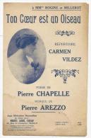 Partition Musicale, Ton Coeur Est Un Oiseau, Répertoire Carmen Vildez, Ed : Marcel Labbé, Frais Fr : 1.60€ - Partitions Musicales Anciennes