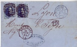 Lettre N°15X2 P 24 BRUXELLES 24/02/1864 Vers LYON    FORT DECENTRAGE - 1863-1864 Medaillons (13/16)