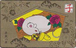 Télécarte Dorée Japon - ZODIAQUE Chinois - SOURIS RAT - MOUSE Horoscope Zodiac Japan Gold Phonecard - MAUS 383 - Japan