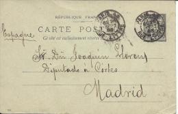 FRANCE 1898 SAGE CARD TO MADRID - 1898-1900 Sage (Type III)