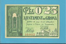 GIRONA - 25 CENTIMS - 25.06.1937 - SPAIN - CIVIL WAR - EMERGENCY PAPER MONEY - NOTGELD - Spain
