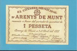 ARENYS DE MUNT - 1 PESSETA - 05.04.1937 - SPAIN - CIVIL WAR - EMERGENCY PAPER MONEY - NOTGELD - Spain