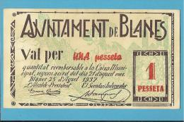 BLANES - 1 PESSETA - 25.08.1937 - SPAIN - CIVIL WAR - EMERGENCY PAPER MONEY - NOTGELD - Spain