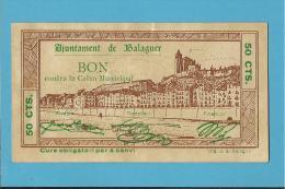 BALAGUER - 50 CENTIMS - 05.08.1937 - SPAIN - CIVIL WAR - EMERGENCY PAPER MONEY - NOTGELD - Espagne