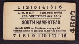 Railway Platform Ticket LMS SOUTH HAMPSTEAD Edmondson LM&SR - Railway