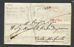 1843   RARA  PREFILATELICA   DA  MANTOVA   X CASALE MONFERRATO  CON TRANSITO NOVARA  INTERESSANTE  DOCUMENTO - 1. ...-1850 Prefilatelia