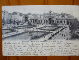 BRUXELLES - PLACE DE LA CONSITUTION ET LA GARE DU MIDI - CIRC 1920 - BXLS177 - Squares