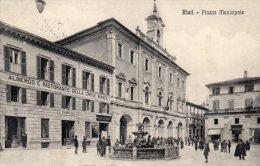 [DC6720] RIETI - PIAZZA MUNICIPALE - Viaggiata 1914 - Old Postcard - Rieti