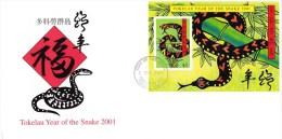 Tokelau 2001 Year Of The Snake MS FDC - Tokelau