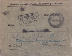 ROUMANIE - 1930 - ENVELOPPE RECOMMANDEE De BUCAREST Avec FRANCHISE De La DIRECTION Des POSTES Pour ANNONAY (ARDECHE) - Poststempel (Marcophilie)