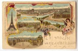 D12168  -  PARIS  -   Eiffel Thurm - Der Neue Louvre - Champs Elysées  *légendes En Langue Allemande* - Cartas Panorámicas