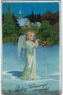 AK KÜNSTLERKARTEN  ENGEL Mit  Trompeten WEICHNACHTEN H.W.B.. Nr.4402.OLD POSTCARD 1919 - Anges