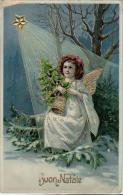 AK KÜNSTLERKARTEN  ENGEL Mit Einem Stern Und Glocke WEICHNACHTEN  GEPRÄGT S.B. Nr.4402.OLD POSTCARD 1914 - Anges