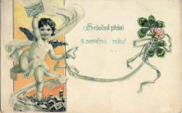 AK KÜNSTLERKARTEN  ENGEL Briefe Und Blumen  GEPRÄGT NEU JAHRE LITHO KARTE OLD POSTCARD 1906 - Anges