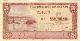 BILLET # VIET NAM  SUD # 1955  # 5 DONG # PICK 13 # BILLET CIRCULE # - Vietnam