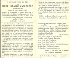 Hilaire Van EEcke - Langemark 1892 - 1959  - Oudstrijder 1914-1918 - E. Maria Lemahieu - Décès
