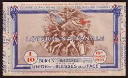 Billet Loterie Nationale - 1935 - 12 ème Tranche - Les Gueules Cassées - Billets De Loterie
