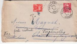 1943 LETTRE , DROME SALLANS Pour CHAMBON-s-LIGNON, Taxe 10F 1 TIMBRE/ 4731 - Marcophilie (Lettres)