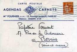PUBLICITE CARTE POSTALE  OBLITÉRATION MÉCANIQUE PARIS PASSAGE LECHEVIN 11 MIGNON MAISON FOURNIER - Postmark Collection (Covers)