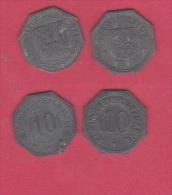 ALLEMAGNE //  Lot De 2 Monnaies De Nécéssitées  // - 10 Pfennig