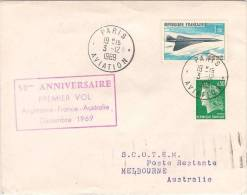 PARIS-MELBOURNE 50TH ANNVERSARY OF 1ST FLIGHT DATED 3/12/69..BACK STAMPED MELBOURNE 14/2/69..HAS CACHE 50TH ANNIVERSAY - First Flight Covers