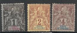 Côte D'ivoire. 1892. N° 1,2,3. Neuf * MH - Ungebraucht
