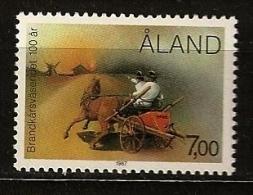 Finlande Aland 1987 N° 23 ** Moulin, Corps Des Sapeurs Pompiers, Pompier, Voiture, Cheval, Incendie, Ecologie, Chevaux - Aland