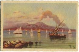 VESUVIO  NAPOLI  Illustrata  Firmata  Il Golfo Con Le Vele - Illustratori & Fotografie