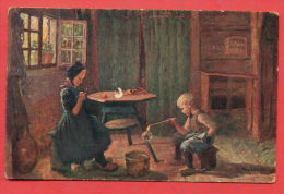 139339 / German Art  Reinhold Bressler -  Siblings PLAY AT HOME , BOY SOAP BALLOONS - A.R.&C.i.R. 328 - Malerei & Gemälde