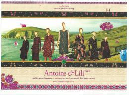 Carte Publicitaire Boutique Antoine Et Lili, Automne Hiver 2013 , Dos Imprimé Avec Liste Des Boutiques - Moda