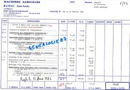 87 - JAVERDAT - FACTURE JEAN LOUIS RATEAU -- MACHINES AGRICOLES - ORADOUR SUR GLANE   1986 - Invoices & Commercial Documents