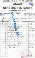 87 -  ORADOUR SUR GLANE - JAVERDAT - FACTURE DESVERGNES ROBERT - SABOTERIE  CHAUSSURES- 1970 - Factures & Documents Commerciaux