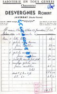 87 -  ORADOUR SUR GLANE - JAVERDAT - FACTURE DESVERGNES ROBERT - SABOTERIE  CHAUSSURES- 1970 - Invoices & Commercial Documents