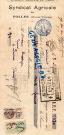 87 -  FOLLES - TRAITE COMMERCE- SYNDICAT AGRICOLE DE FOLLES- 1934 - Factures & Documents Commerciaux