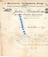 87 -  FOLLES -  FACTURE JULES PLANCHON - SERRURRERIE  TAILLANDERIE FORGE- FORGERON- 1912 - Factures & Documents Commerciaux