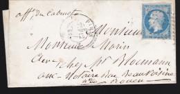 France - Lettre N° 14 Obl. - 1858 - Losange E / Cad Paris E / Paris Au Havre A / Rouen - Postmark Collection (Covers)