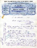 """83.VAR.TOULON.DEPOT D´ALLUMETTES DE L´ETAT ET DE CARTES A JOUER """" AU BLOC SUEZ """"P.LAVIE 19 RUE DU PRADEL. - Non Classés"""