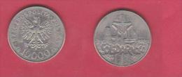 POLOGNE    //  10000 Zlotych 1990  //  Km# 195  //  état Ttb+ - Polonia