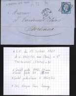 France - Lettre N° 14 Obl. - 1861 - Losange ? / Paris H / Bordeaux - 1849-1876: Classic Period
