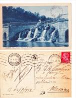 Cartolina Formato Piccolo Caserta Parco Reale Cascata Dei Delfini Viaggiata 1936 Francobollo 1929 - Caserta