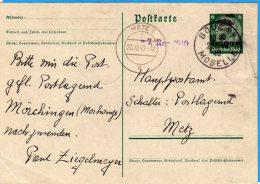 Càd Manu. Franç. De Boulay Du 22/10/40 Sur EP Hindenburg D´occupat. Et Cachet Allemand De Metz Du 23/10/40 - Marcophilie (Lettres)
