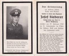 WK II, Andenkenbild, Soldat Eines Inf.Reg. Heldentod Im 21.Lebensjahr Für Führer, Volk Und Heimat - 1939-45