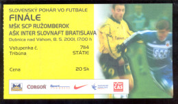 Football RUZOMBEROK   Vs INTER SLOVNAFT  Ticket 08.05.2001. SLOVAKIA CUP FINAL - Tickets D'entrée