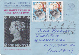 Italy 1979 Rowland Hill Air Letter Sent To Australia - Italy