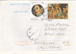 Italy 1983 Christmas Aerogramme Sent To Australia - Italy